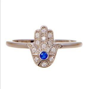 Adornia Sterling Silver Swarovski Blue Hamsa Ring